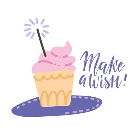 Make a Wish card with cupcake with pink cream, sparkler and lettering text. Vector hand drawn illustration in pastel colors.
