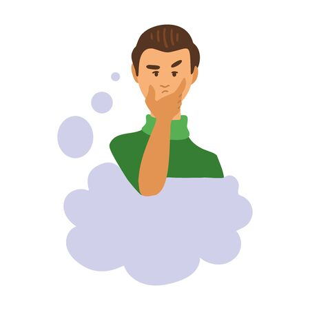 Illustration of a thinking man. Thoughtful male character looking up and making decision. Speach bubble. Emoticon, emoji, facial expression. Simple style vector illustration.