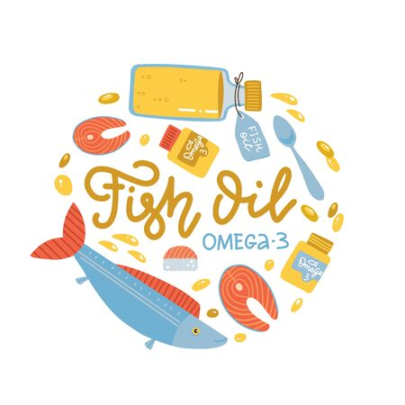 Vitamin intake color circle concept. Fish oil supply. Omega-3 supplement. Medication and pills, live fish and fish oil in bottle.Diet supply.Healthcare and nutrition. Isolatedflat vector illustration.
