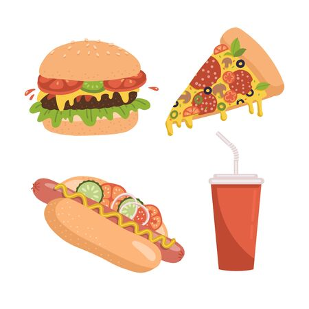 Fast food icon set. Includes illustrations of pizza slice, burger, hot dog and soda pepper cup. Flan hand drawn vector design