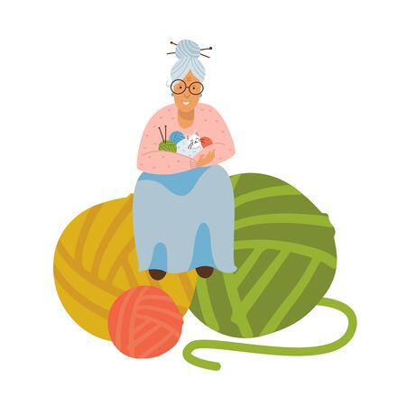 Grandmother kniting. Elderly woman with ball of yarn in hands. Grandma is sitting on huge clews. Funny Cat sits on handles. Vector flat illustration. Illusztráció