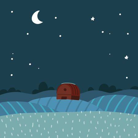 Flat Vector illustration of night over rural, farm landscape. Background with stars and moon in the sky