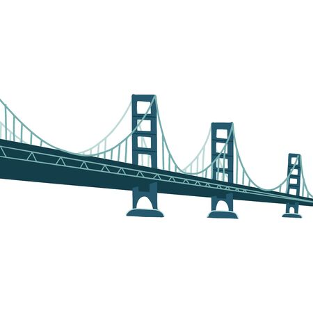 Large bridge over river. Modern construction for transportation. Metal footbridge with railings. Flat vector design isolated on white background.