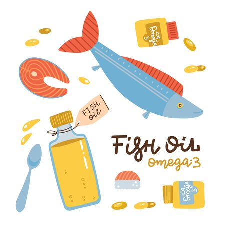 Fish oil icons set in flat style isolated on white background. Healthy salmon steak, sushi, fish oil in bottle and softgel pills. Vector hand drawn illustration.