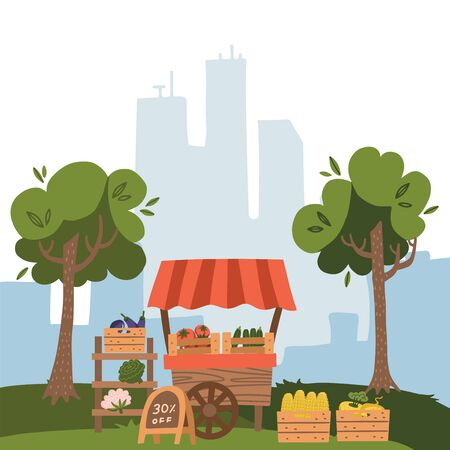 Local market stall place with fresh foods. Farm fruit and vegetable on city view background with trees, Cartoon flat style vector illustration