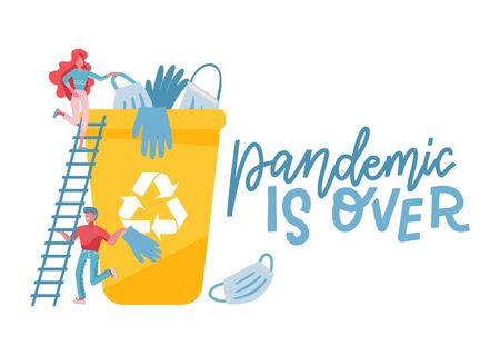 End of quarantine concept. Medical masks and gloves in a trash bin. Little characters throw unnecessary defenses. Vector flat illustration with hand drawn lettering.