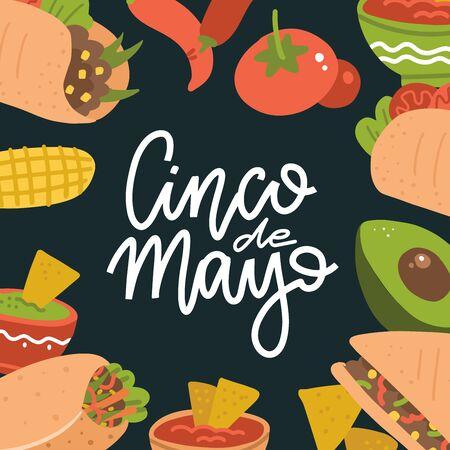 Cinco de Mayo lettering banner with mexican food - Guacamole, Quesadilla, Burrito, Tacos, Nachos, Chili con carne and ingredient. Vector flat illustration on dark background. Vector Illustration