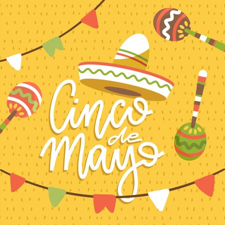 Happy Cinco de Mayo greeting card with hand drawn letterinf phrase and doodle sombreros, flags and maracas. Flat vector illustration on pattern background.