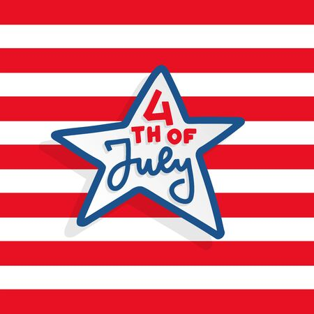 Happy independence day card United States of America, 4 th of July lettering in star shape in striped background. Greeting Card with Font. Hand drawn decoration. Flat style vector illustration Çizim