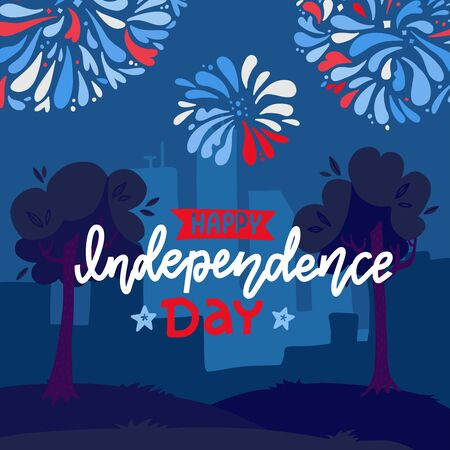Festive background for USA Independence Day, Fourth of July, with fireworks under night city landscape, Flat vector illustration of houses and trees Ilustrace