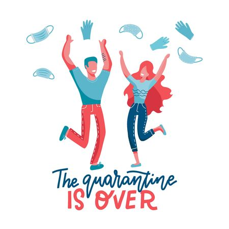 The quarantine is over - lettering concept. End of Pademic . Joyful man and woman jumping and taking off and throwinf away mask an glowes. Vector flat illustration. Stock Illustratie