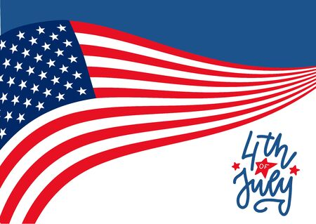Happy 4th of July United States Independence Day celebrate banner with waving american national flag and hand lettering text design. Vector flat illustration