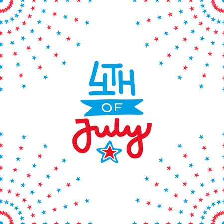 Fourth of July independence day. Salute decor of greeting card with lettering, Hand drawn flat illustration.