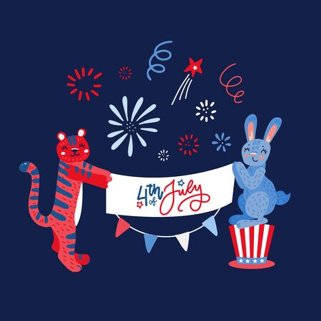Hand drawn rabbit and tiger with greeting banner in paws. Card with fireworks and flags. Flat childish style vector illustration
