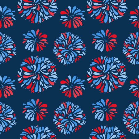 Seamless pattern - Fireworks night sky Happy independence day United states of America. 4th of July. dark blue background. Vector flat illustration.