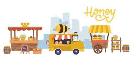Sweet honey food market with many stalls and counters, showcases. Rural apiary healthy nutrition, agronom at shop or store for retail beehive products. Beekeeping theme. Vector flat illustration.