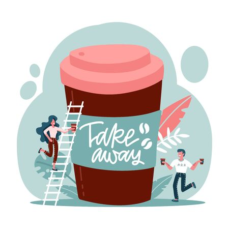 Big disposable coffee cup and exhausted characters holding coffee paper cups in hands. Coffee benefits concept for web banner, website page. Flat vector illustration with lettering - Take away.