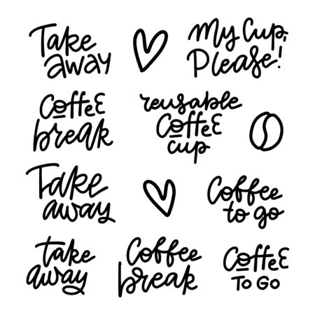 Hand lettering for restaurant, cafe menu, coffee house and shop. Linear drawn elements for labels,badges, stickers. Calligraphic and typographic vector collection - Coffee break, take away, to go