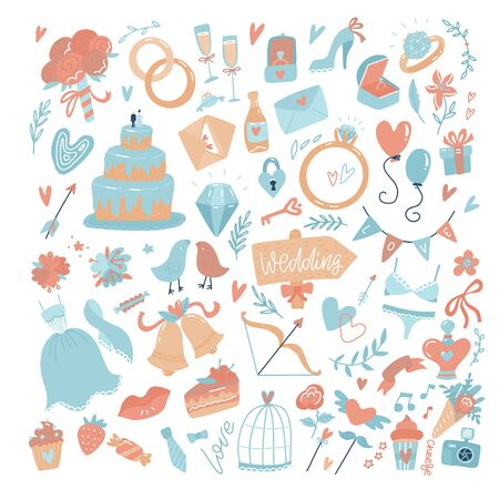 Big set of icons for wedding day, Valentines day, Mothers day or love and romantic events. Flat vector illustration