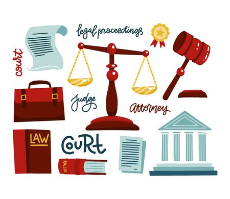 Symbols of legal regulations. Juridical icons set. Legal juridical, tribunal and judgment, law anb gavel. Flat vector illustration with hand drawn lettering legal proceedings, attorney, judge, court.