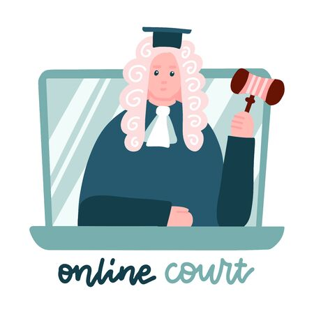 Judge in a wig on laptop screen. computer Online legal proceedings .Law consulting, juridical help online. Lockdown home office, remote job. Flat vector illustration Illusztráció