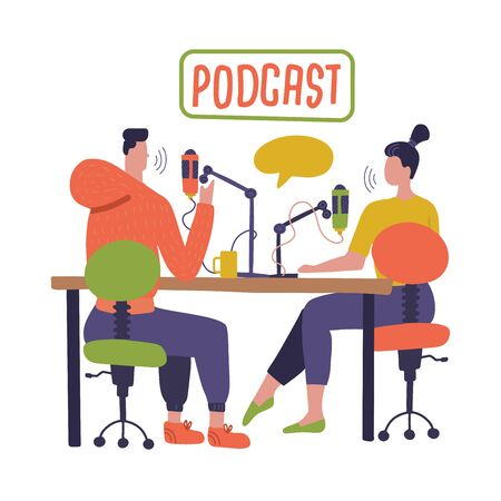 People recording podcast in studio flat vector illustration. Radio host interviewing guests on radio station cartoon characters. Young DJ, man and woman in headphones talking. Broadcasting