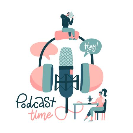 Young people in headset listening to music. Youth in radio studio recording podcast characters. Sound recording equipment, microphone, headset isolated element. Hand drawn flat vector illustration.