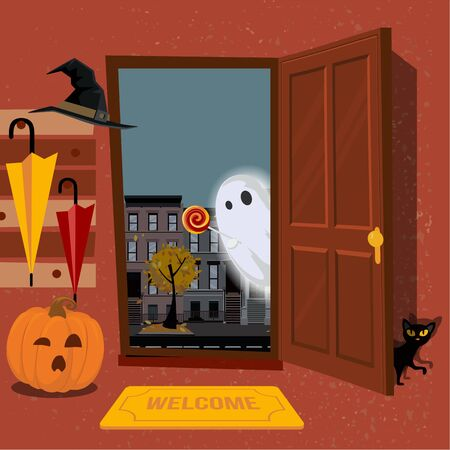 House interior, decorated for Halloween, pumpkin with mug in hallway under hanger with umbrellas, black cat hides behind door. Door is open and Ghost looks inside street. Flat cartoon illustration Illustration