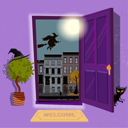 halloween Witch's house. Open door to purple hallway with hat at home plant and black cat at door. Urban landscape with a huge moon and silhouette of witch over houses roofs. Flat cartoon illustration. Illustration