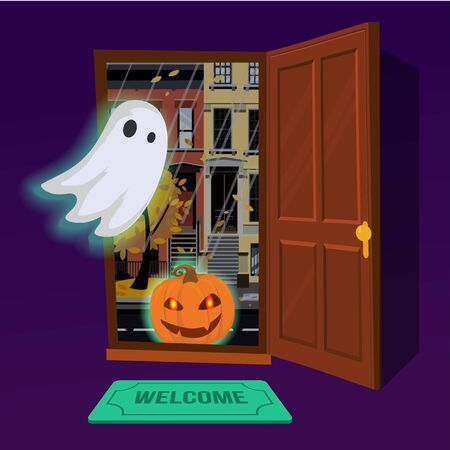 Glowing pumpkin enters the house through an open door. In the hallway flying glowing Ghost. Outside the door of the city autumn landscape at dusk. Flat cartoon style vector illustration