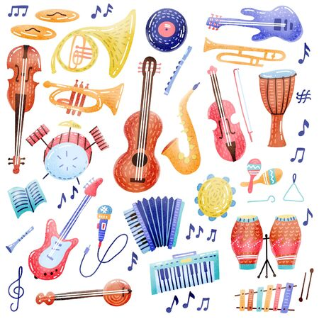Big Music set musical instrument and symbols icons collections. Cartoon sound concept elements. Music notes with Piano, Guitar, Violin, Trumpet, Drum, Saxophone and Harp. Hand drawn textured doodle. Stok Fotoğraf