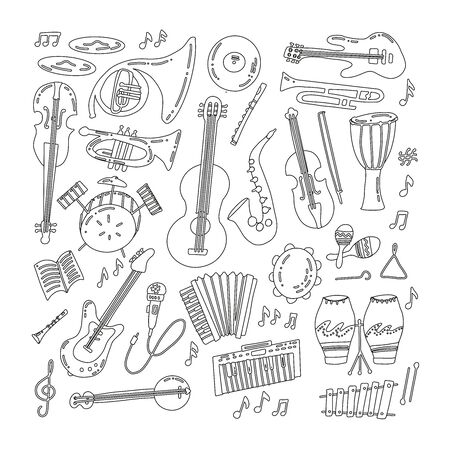 Hand drawn doodle musical instruments. Classical and jazz orchestra. Vector illustration. Vector black and white illustration.