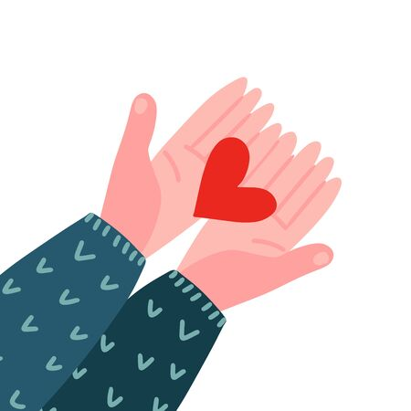 Two hands holding a heart. Top view. Valentine's day, love, relationship. Charity symbol. Two arms in a knitted sweater hold out a red heart. Vector flat hand drawn illustration.