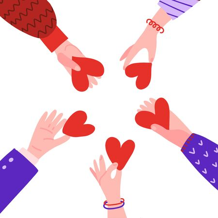 Hands in circle with hearts. Friendship concept. People hold out each other's hearts. Characters palm with symbol of love ond frienship. Vector flat hand drawn illustration. 版權商用圖片 - 148094173