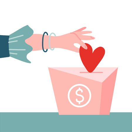 Female hand pushing heart love in box charity and donation concept. Flat vector illustration. Container for monetary donation with dollar sign. Charity symbol of hand putting money into the box