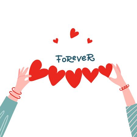 Female Hands holding paper shape of heart row for greeting concept. Forever lettering quote. BBF girls frienndship. Vector flat hand drawn illustration.