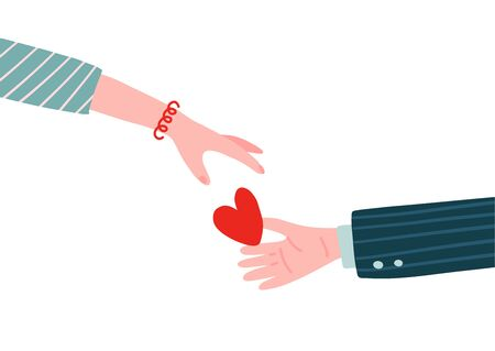 Gift heart on Valentine's Day. Male hand Holding heart in palm and giving in to female hand. Man holds out woman his heart. Vector illustration flat design. Isolated on white background