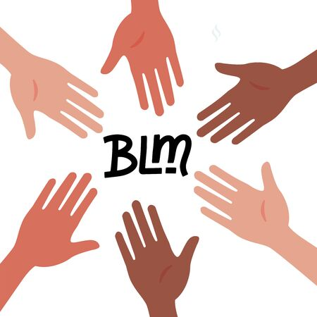 Circle of hands diverse unity togetherness. Black Lives Matter concept. BLM - lettering quote. Protest Banner about Human Right of Black People in U.S. America. Vector hand drawn Illustration
