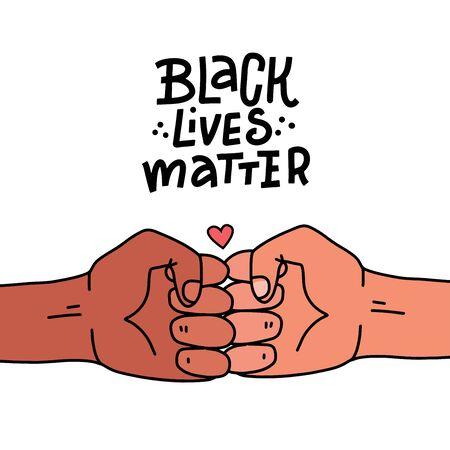 Black lives matter poster, banner. Black Lives Matter stylised lettering . Black and white bro fist together concept. Campaign against racial discrimination of dark skin color. Vector Illustration