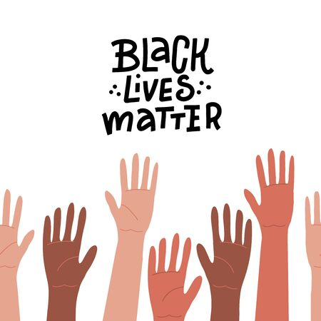 Hands up of different races, colors, nationalities with ancient signs and symbols. Isolated silhouette vector anthropology concept on white background. Black Lives Matter - lettering quote Çizim