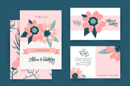 Wedding invitation card set suite with romantic light pink flower, RSVP Templates. Rosehip flower composition with hand drawn lettering. Vector flat illustration