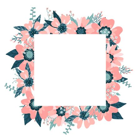 Floral Frame isolated on the white background. Cute flat floral wreath perfect for wedding invitations and birthday cards. Rose hip border with eucalyptus branches. Vector hand drawn illustration Illustration