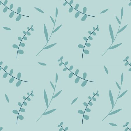 Seamless pattern of Eucalyptus palm fern different tree, natural branches, leaves, herbs, l hand drawn flat silhouette Vector beauty elegant textile print on pale green blue background