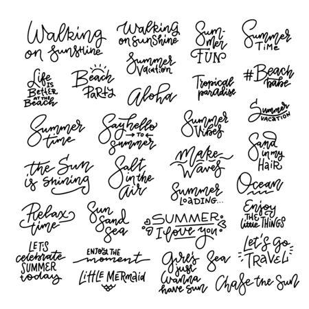 Doodles Hand Drawn vector. Doodle Summer Vector. Summer Typographic Design Set 벡터 (일러스트)