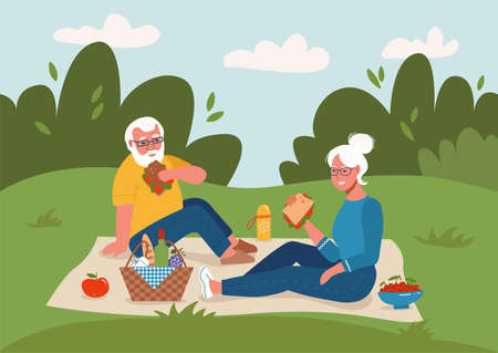 Old couple having picnic outdoors Happy retirement flat vector sketch illustration. Elderly man and woman sitting on ground.