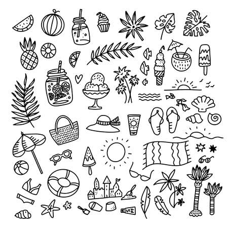 Icon set summer beach holidays, travel, vacation with sand castle, shoes, ice cream, shells, ball, drink, towel, sunglasses, parasol. Hand drawn black and white doodle vector illustration. Illustration