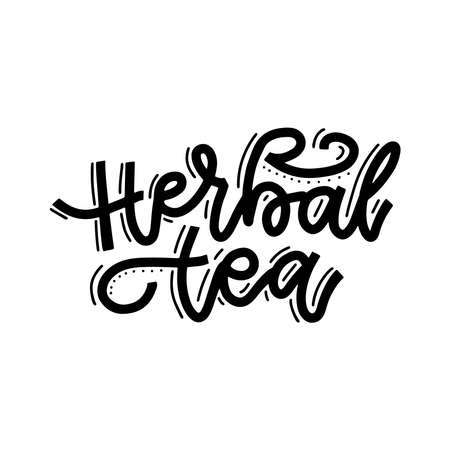 Herbal tea. Linear calligraphy hand drawn vector lettering text