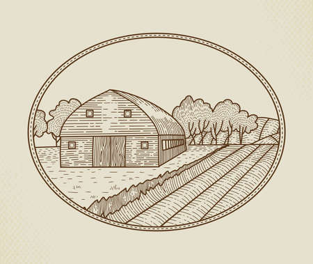 Countryside landscape in graphic style with farm and field as an element graphic design for the creation of the label or trademarks. Rural Vector Sign, Badge Logo Template. Farm Sketch in oval Frame