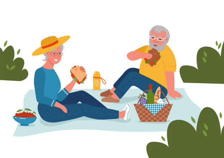 Cheerful senior couple having lunch outdoors, enjoying life. Active retirement, happy marriage anniversary and holiday picnic concept. Flat style isolated background cartoon vector illustration.