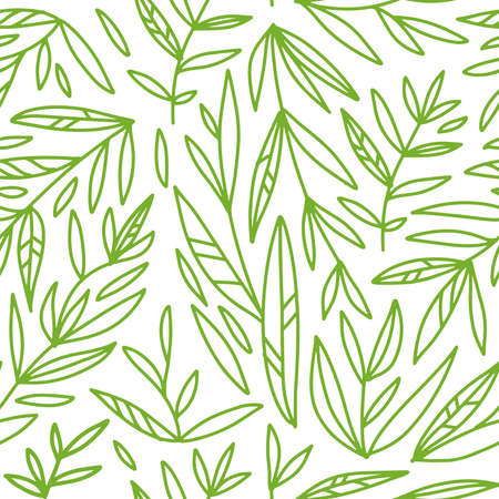 Seamless pattern with hand drawn green branches lines on a white background. Doodle print for fabric,wrapping paper,wallpaper,planners,greeting cards,mugs,background for your design. Illustration